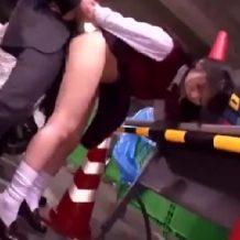 【JKレイプ動画】暴走したストーカー男が駐輪場で女子校生に鬼畜すぎる中出しレイプ