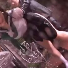 【JCレイプ動画】ゲリラ豪雨でびしょ濡れになった中学生ぽい少女を野外強姦する腐れ外道…