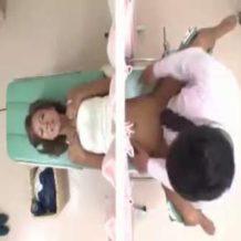 【レイプ動画】妊娠検査を受ける黒ギャルが糞医者に種付けレイプされる一部始終…